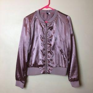H&M Pink Metallic Bomber Jacket Size 12